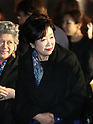 April 19, 2017, Tokyo, Japan - Tokyo Governor Yuriko Koike smiles with Japanese as she enjoys Dior's 2017 spring-summer haute couture collection at the rooftop of the Ginza Six in Tokyo on Wednesday, April 19, 2017. Tokyo's new landmark Ginza Six will open on April 20 where Dior will have its flagship store.     (Photo by Yoshio Tsunoda/AFLO) LwX -ytd-