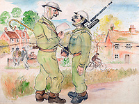 BNPS.co.uk (01202 558833)<br /> Pic: GSpencerEstate/LissLlewellyn<br /> <br /> 'Officer, reading description of escaped prisoner to Patrol'<br /> <br /> Never-before-seen paintings depicting the humourous side of the Home Guard that were censored for being too offensive have come to light nearly 80 years later.<br /> <br /> The light-hearted works were produced by the artist Gilbert Spencer more than 25 years before Dad's Army appeared on TV to huge acclaim. <br /> <br /> But Spencer's witty take on life in the Home Guard wasn't quite so well received during the darkest days of the Second World War.<br /> <br /> Spencer was too old to enlist in the army and so joined the Home Guard. In wanting to do his bit he produced 14 paintings based on his amusing observations of the citizen militia that were aimed at cheering up the nation.