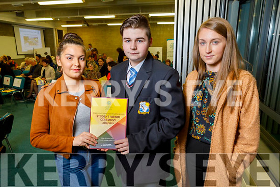 Anna Misztal and Darragh Mulvihill (Colaiste Na Riochta) and Lauren Costello (Ballyduff) attending the Kerry ETB Student Awards ceremony in the IT Tralee on Friday night.