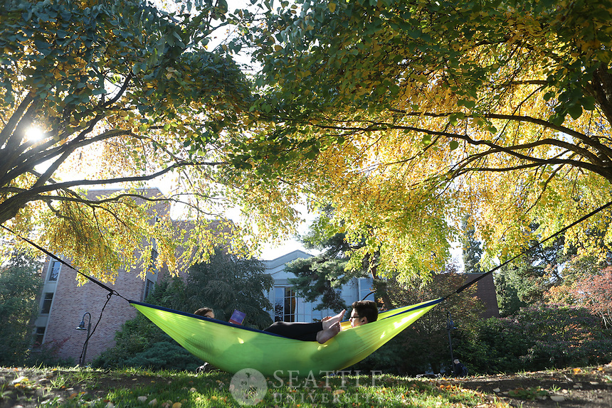 "September 28th 2016 - Seattle University freshmen Katherine Murphy, of Mulkoteo, WA and Benjamin Trujillo, of Boulder, CO get a start studying for their Fall classes while relaxing in a hammock they set up outside Pigott and the Chapel of St. Ignatius. Murphy is studying mechanical engineering and Trujillo is studying physics at Seattle U. ""It's nice out and why not be in a hammock,"" Murphy said. ""It's a Boulder thing to do,"" Trujillo added."