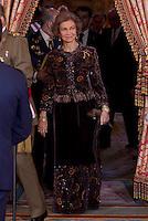 MADRI, ESPANHA, 06 JANEIRO 2013 - PARADA MILITAR ANO NOVO - A Rainha Sophia durante Parada Militar do Ano Novo no Palacio Real de Madri capital da Espanha, neste domingo, 06/01/2013. (FOTO: MIGUEL CORDOBA / ALFAQUI / BRAZIL PHOTO PRESS).