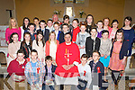 Castlemaine NS pupils who were confirmed in St Gobnait's church Keel on Thursday by Canon Michael Fleming with Miss Prenderville and Fr Roche..
