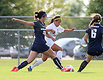BROOKINGS, SD - August 19:  Julia Lam #27 from South Dakota State battles for the ball with Jordyn Chung-Hoon #20 from Utah State during the first half of their match at Fischback Soccer Field in Brookings. (Photo by Dave Eggen/Inertia)