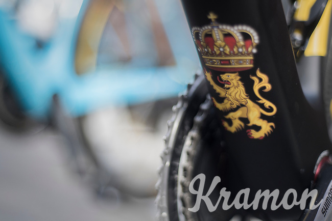 Belgian National Champion Oliver Naesen's (BEL/AG2R-LaMondiale) 'royal' bike detail<br /> <br /> Binche-Chimay-Binche 2017 (BEL) 197km<br /> 'Mémorial Frank Vandenbroucke'