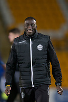 12th February 2020; McDairmid Park, Perth, Perth and Kinross, Scotland; Scottish Premiership Football, St Johnstone versus Motherwell; Bevis Mugabi of Motherwell inspects the pitch before the match