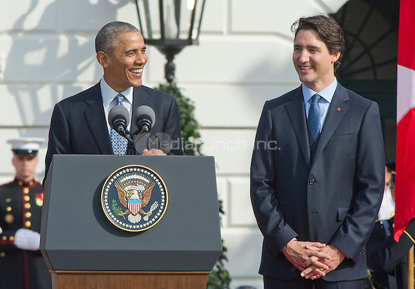 United States President Barack Obama, left, makes remarks during an Arrival Ceremony opening the Official Visit of Prime Minister Justin Trudeau of Canada, right, and Mrs. Sophie Gr&Egrave;goire Trudeau on the South Lawn of the White House in Washington, DC on Thursday, March 10, 2016. <br /> Credit: Ron Sachs / CNP/MediaPunch