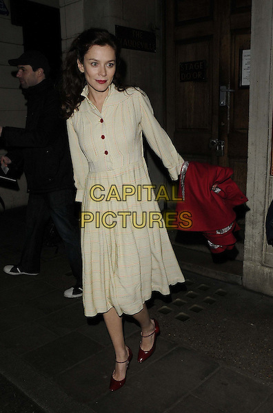 Anna Friel.departed after the evening performance of 'Uncle Vanya', Vaudeville Theatre, The Strand, London, England..January 9th, 2013.full length white cream dress red shoes check buttons .CAP/CAN.©Can Nguyen/Capital Pictures.
