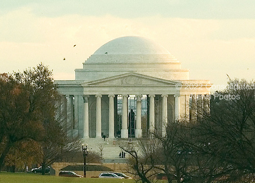 Washington, D.C. - November 22, 2005 -- View at dusk of the Jefferson Memorial in Washington, D.C. on November 22, 2005  from the South Lawn of the White House.  Scaffolding can be seen around the statue of President Thomas Jefferson due to on going renovation of the memorial..Credit: Ron Sachs / CNP