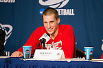 Wisconsin Badgers Ben Brust (1) talks to the media after the fourth-round game in the NCAA college basketball tournament against the Baylor Bears Thursday, March 27, 2014 in Anaheim, California. The Badgers won 69-52. (Photo by David Stluka)