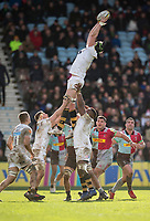 Wasps' James Gaskell claims a line out<br /> <br /> Photographer Bob Bradford/CameraSport<br /> <br /> Aviva Premiership Round 14 - Harlequins v Wasps - Sunday 11th February 2018 - Twickenham Stoop - London<br /> <br /> World Copyright &copy; 2018 CameraSport. All rights reserved. 43 Linden Ave. Countesthorpe. Leicester. England. LE8 5PG - Tel: +44 (0) 116 277 4147 - admin@camerasport.com - www.camerasport.com