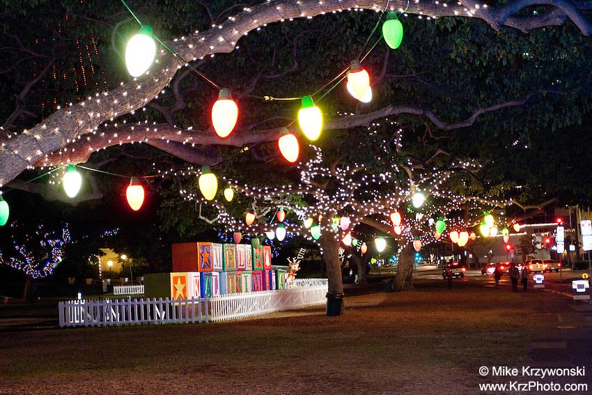 Christmas lights in Downtown Honolulu, Oahu, Hawaii