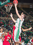 North Texas Mean Green forward Niko Stojiljkovic (25) in action during the game between the Louisiana Lafayette Ragin Cajuns and the University of North Texas Mean Green at the North Texas Coliseum,the Super Pit, in Denton, Texas. Louisiana Lafayette defeats UNT 57 to 53.