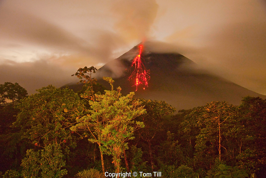 Arenal Volcano eruption, Arenal Volcano National Park, Costa Rica,  An active andesitic stratovolcano, 7,000 year old volcano active since 1968