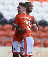 Blackpool's Jordan Thompson celebrates scoring the opening goal with team-mate Nathan Delfouneso<br /> <br /> Photographer Stephen White/CameraSport<br /> <br /> The EFL Sky Bet League One - Blackpool v Rochdale - Saturday 6th October 2018 - Bloomfield Road - Blackpool<br /> <br /> World Copyright © 2018 CameraSport. All rights reserved. 43 Linden Ave. Countesthorpe. Leicester. England. LE8 5PG - Tel: +44 (0) 116 277 4147 - admin@camerasport.com - www.camerasport.com