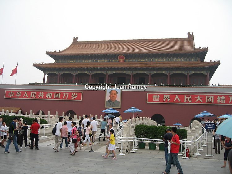 Forbidden City and China's Chairman Mao portrait in Beijing, China