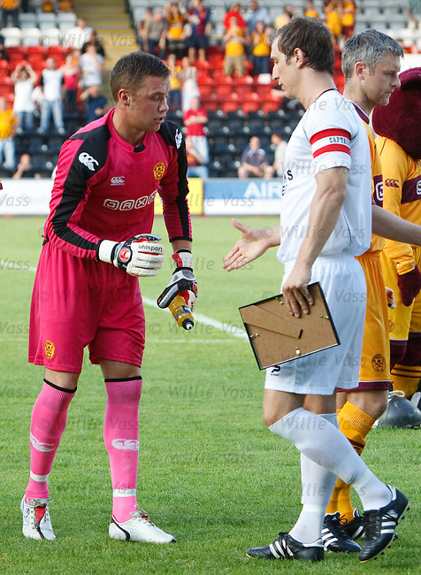 "Motherwell goalkeeper Michael ""Pink Panther"" Fraser looking very fetching in an all pink strip"