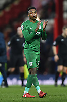 Preston's Darnell Fisher applauds the Preston supporters<br /> <br /> Photographer Jonathan Hobley/CameraSport<br /> <br /> The EFL Sky Bet Championship - Brentford v Preston North End - Saturday 10th February 2018 - Griffin Park - Brentford<br /> <br /> World Copyright &copy; 2018 CameraSport. All rights reserved. 43 Linden Ave. Countesthorpe. Leicester. England. LE8 5PG - Tel: +44 (0) 116 277 4147 - admin@camerasport.com - www.camerasport.com