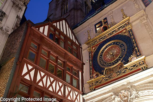 Gros Horloge Clock, Illuminated at Night in Rouen, Normandy, France
