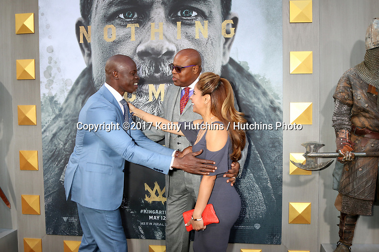 """LOS ANGELES - MAY 8:  Djimon Hounsou, Chi McBride, Julissa McBride at the """"King Arthur Legend of the Sword"""" World Premiere on the TCL Chinese Theater IMAX on May 8, 2017 in Los Angeles, CA"""
