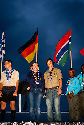 German Scouts standing on the catwalk during opening ceremony