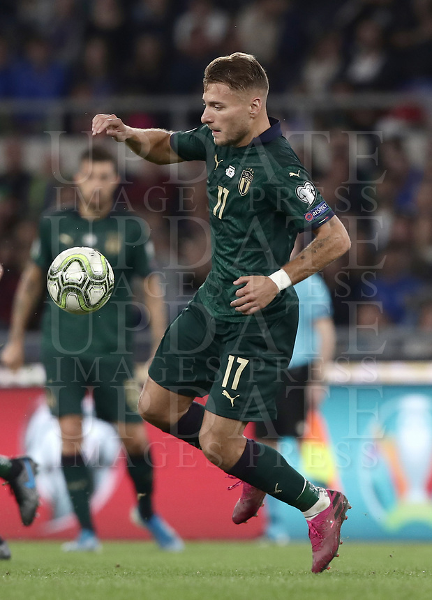 Football: Euro 2020 Group J qualifying football match Italy vs Greece at the Olympic stadium, in Rome, on October 12, 2019.<br /> Italy's Ciro Immobile in action during the Euro 2020 qualifying football match between Italy and Greece at the Olympic stadium, in Rome, on October 12, 2019.<br /> UPDATE IMAGES PRESS/Isabella Bonotto