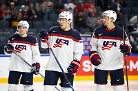 Americans Dylan Larkin (left to right), Anders Lee and Daniel react during the Ice Hockey World Championship quarter-final match between the US and Finland in the Lanxess Arena in Cologne, Germany, 18 May 2017. Photo: Marius Becker/dpa /MediaPunch ***FOR USA ONLY***