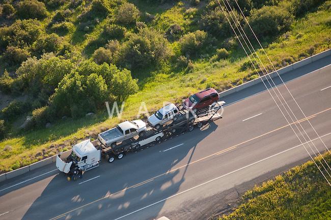 broken down semi truck on highway