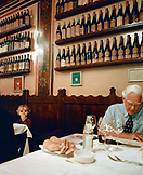 ITALY, Verona,  senior man and boy dining at the Antica Bottega Del Vino Restaurant.