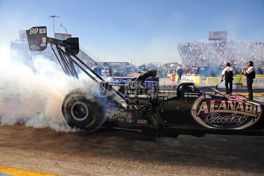 Sept. 18, 2011; Ennis, TX, USA: NHRA top fuel dragster driver Del Worsham during qualifying for the Fall Nationals at the Texas Motorplex. Mandatory Credit: Mark J. Rebilas-
