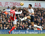 Tottenham's Mousa Dembele tussles with Arsenal's Nacho Monreal<br /> <br /> Barclays Premier League- Tottenham Hotspurs vs Arsenal  - White Hart Lane - England - 7th February 2015 - Picture David Klein/Sportimage