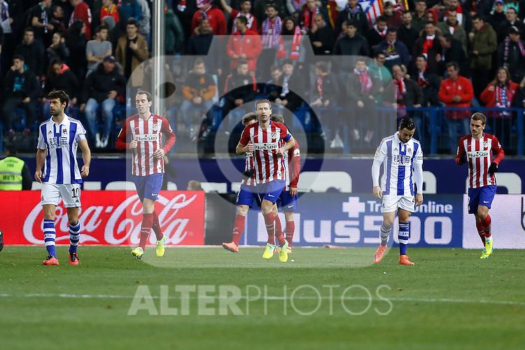 Atletico de Madrid´s Gabi, Godin and Griezmann celebrate a goal during 2015-16 La Liga match between Atletico de Madrid and Real Sociedad at Vicente Calderon stadium in Madrid, Spain. March 01, 2016. (ALTERPHOTOS/Victor Blanco)