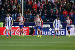 Atletico de Madrid´s Gabi, Godin and Griezmann celebrate a goal during 2015-16 La Liga match between Atletico de Madrid and Real Sociedad at Vicente Calderon stadium in Madrid, Spain. March 01, 2016. (ALTERPHOTOS/Victor Blanco)