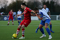 Joe Christou of AFC Hornchurch and Danny Rumens of Enfield Town during AFC Hornchurch vs Enfield Town, Velocity Trophy Final Football at Parkside on 10th April 2019