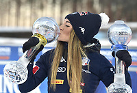 14th March 2020; Kontiolahti, Finland;  Womens World Cup Total Winner, Dorothea Wierer of Italy celebrates after winning for womens 10 km Pursuit competition at the IBU Biathlon World Cup