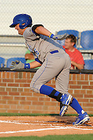 Burlington Royals catcher Cameron Gallagher #35 runs to first during a game against the Johnson City Cardinals at Howard Johnson Field on June 28, 2012 in Johnson City, Tennessee. The Royals defeated the Cardinals 14-2. (Tony Farlow/Four Seam Images).