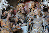 King Herod's banquet, polychrome high relief in the second row on the North side of the Gothic choir screen in the North ambulatory, 1490-1530, commissioned by canon Adrien de Henencourt and made by the sculptor Antoine Ancquier, depicting the life of St John the Baptist, at the Basilique Cathedrale Notre-Dame d'Amiens or Cathedral Basilica of Our Lady of Amiens, built 1220-70 in Gothic style, Amiens, Picardy, France. Amiens Cathedral was listed as a UNESCO World Heritage Site in 1981. Picture by Manuel Cohen