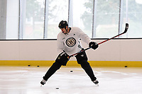 September 11, 2018: Boston Bruins defenseman Zdeno Chara (33) takes a shot at the net skates during the Boston Bruins training camp at Warrior Ice Arena in Brighton Mass. Eric Canha/CSM
