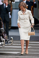 Queen Sofia exit at the end of event