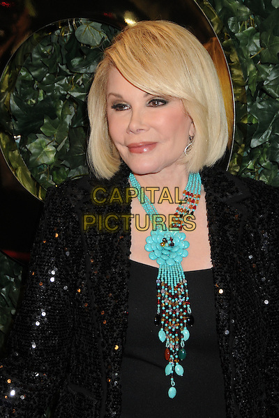 JOAN RIVERS.QVC Red Carpet Style Party held at the Four Seasons Hotel, Beverly Hills, California, USA..February 25th, 2011.headshot portrait black sequins sequined plastic surgery blue turquoise necklace .CAP/ADM/BP.©Byron Purvis/AdMedia/Capital Pictures.