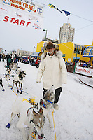 Saturday March 6 , 2010    Dan Seavey representing the centennial trail of Iditarod at the start line on 4th avenue     during the ceremonial start of the 2010 Iditarod in Anchorage , Alaska