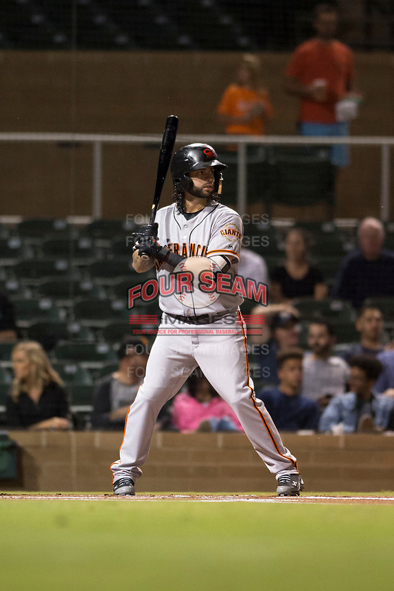 Scottsdale Scorpions second baseman C.J. Hinojosa (8), of the San Francisco Giants organization, at bat during an Arizona Fall League game against the Salt River Rafters at Salt River Fields at Talking Stick on October 11, 2018 in Scottsdale, Arizona. Salt River defeated Scottsdale 7-6. (Zachary Lucy/Four Seam Images)