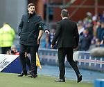 11.11.18 Rangers v Motherwell: Steven Gerrard tries to calm down Stephen Robinson