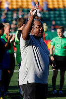 Rochester, NY - Saturday July 23, 2016: National Anthem Singer prior to a regular season National Women's Soccer League (NWSL) match between the Western New York Flash and FC Kansas City at Rochester Rhinos Stadium.