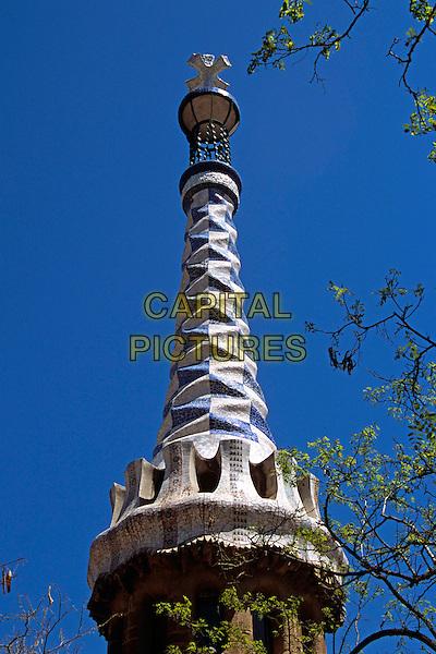 Ornate ceramic roof, Guell Park, Barcelona, Spain