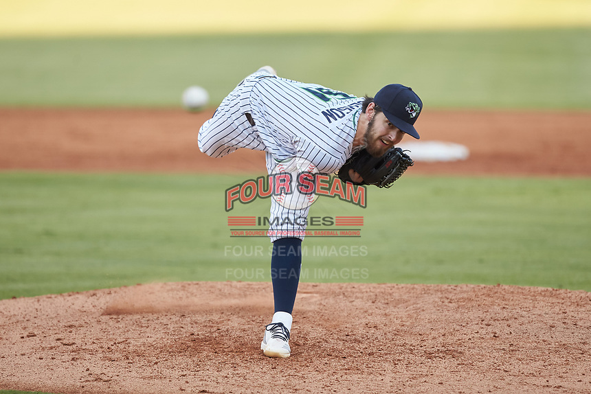 Gwinnett Stripers starting pitcher Ian Anderson (51) delivers a pitch to the plate against the Scranton/Wilkes-Barre RailRiders at BB&T BallPark on August 18, 2019 in Lawrenceville, Georgia. The RailRiders defeated the Stripers 9-3. (Brian Westerholt/Four Seam Images)