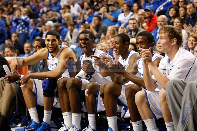The Kentucky bench during game against Dillard University at Rupp Arena on November 5, 2010.  Photo by Latara Appleby | Staff