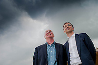 Tuesday 27 May 2014, Hay on Wye, UK<br /> Pictured: James Mitchell and Richard Wyn Jones<br /> Re: The Hay Festival, Hay on Wye, Powys, Wales UK.