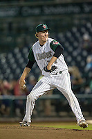 Fort Wayne TinCaps pitcher Trey Wingenter (24) delivers a pitch to the plate against the West Michigan Whitecaps on May 23, 2016 at Parkview Field in Fort Wayne, Indiana. The TinCaps defeated the Whitecaps 3-0. (Andrew Woolley/Four Seam Images)