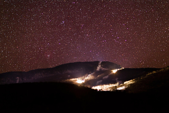 A moonless, late Winter night over the Gore Mountain ski resort in the town of North Creek in New York's Adirondack Park.
