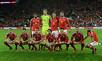 Wales team line up for the team photo<br /> <br /> Photographer Ian Cook/CameraSport<br /> <br /> FIFA World Cup Qualifying - European Region - Group D - Wales v Republic of Ireland - Monday 9th October 2017 - Cardiff City Stadium - Cardiff<br /> <br /> World Copyright &copy; 2017 CameraSport. All rights reserved. 43 Linden Ave. Countesthorpe. Leicester. England. LE8 5PG - Tel: +44 (0) 116 277 4147 - admin@camerasport.com - www.camerasport.com